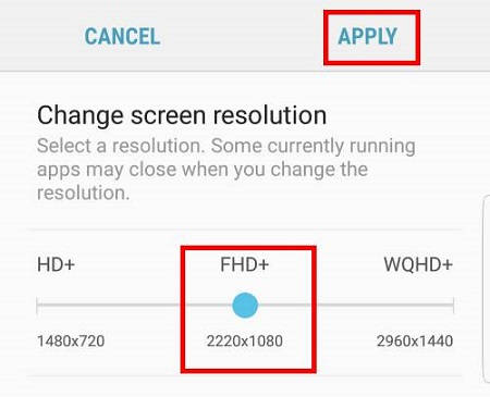 Configuring Screen Resolution of Samsung Galaxy S8 and S8+