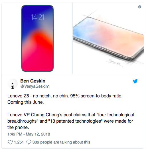 Lenovo Z5 Will Have A World-First Onboard Storage Of 4 TB